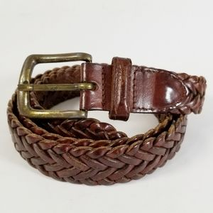 Other - 5/$15 Brown Braided Leather Belt Made in Turkey